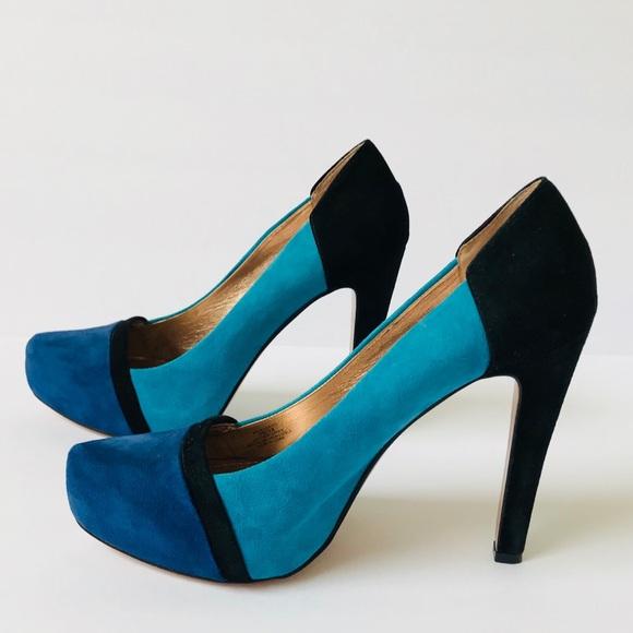 BCBGeneration Shoes - BCBGeneration Blue Black Color Block Suede Heels